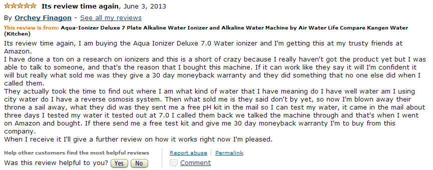 aqua ionizer customer review